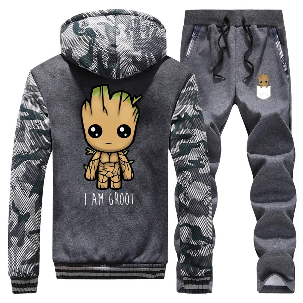 I Am Groot Mens Comouflage Thick Hoodies Winter Sweatshirt High Quality Warm Suit Groot Man Jacket+Pant 2PCS Sets Men Streetwear