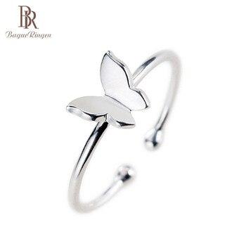 Bague Ringen de plata 925 abierto mujer anillo de plata en forma de mariposa dedo joyas anillo venta al por mayor regalos de fiesta venta al por mayor de joyería fina