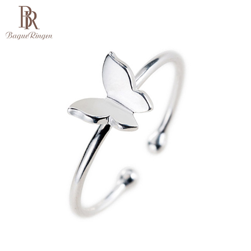 Bague Ringen Silver 925 Open Woman Ring Siliver Butterfly Shape Finger Jewlery Ring Wholesale Party Gifts Fine Jewelry Wholesale