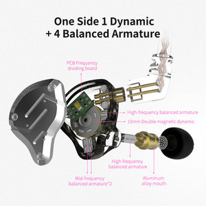 Image 4 - KZ ZS10 פרו 4BA + 1DD היברידי 10 יחידות HIFI בס אוזניות באוזן צג אוזניות