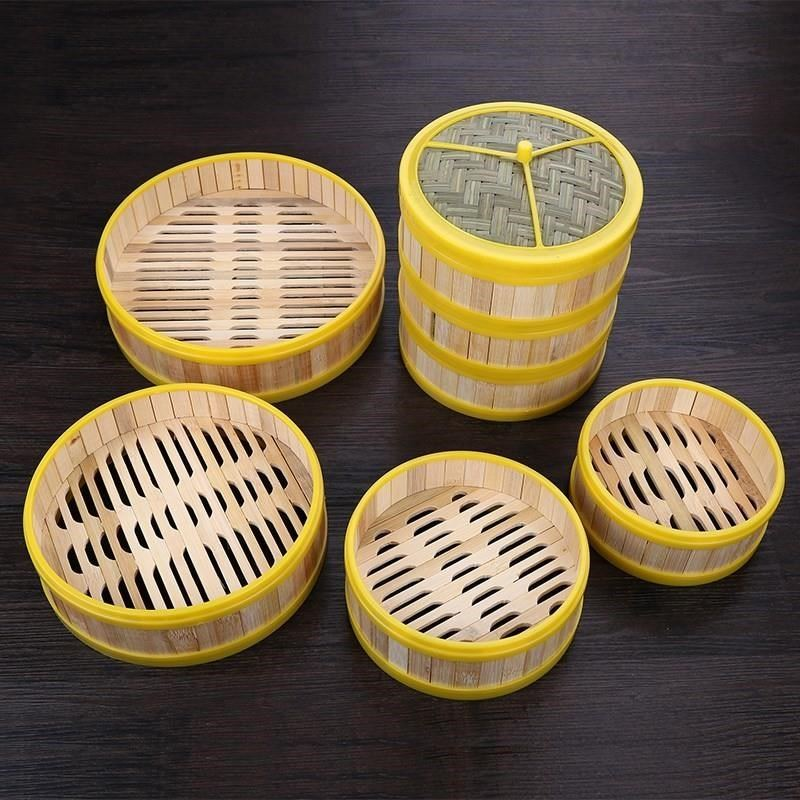 Steamer Cooking Utensils 13-30cm One Cage Or One Cover Steamer Bamboo Steamer Fish Rice Vegetable Snack Basket Set CY51106