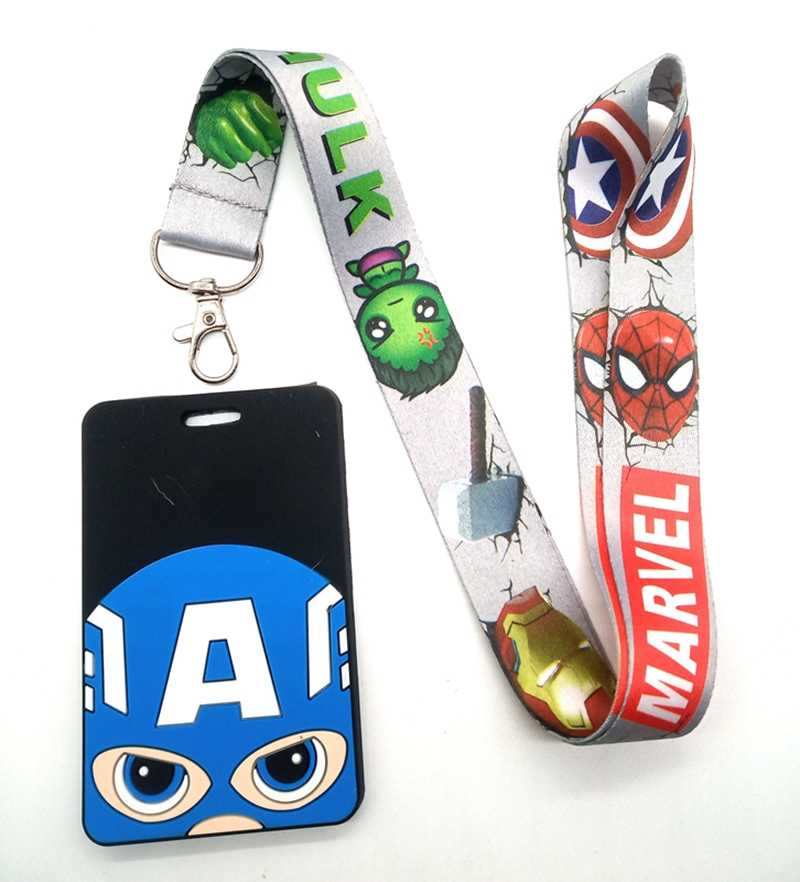 Hot 1 Pcs Kartun Superhero Spiderman Batman Iron Man Lanyard Kunci Lanyard Cosplay Badge ID Kartu Pemegang Leher Tali Keyrchains