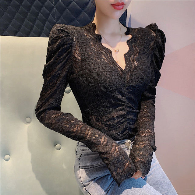 Blouses Women Elegant V Neck Slim Hollow Out Lace Blouses Autumn All-match Vintage Full Puff Sleeve Elastic Shirts Tops 5