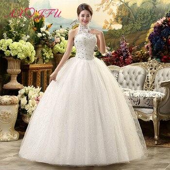 AXJFU beauty flower lace white wedding Dress vintage halter beading crystal sleeveless flower ball gown white wedding dress