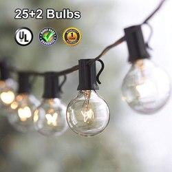 Dcoo pátio ao ar livre luz da corda 25 clara globo g40 lâmpadas ul certificado para pátio quintal festa de encontro casamento mercados decoração