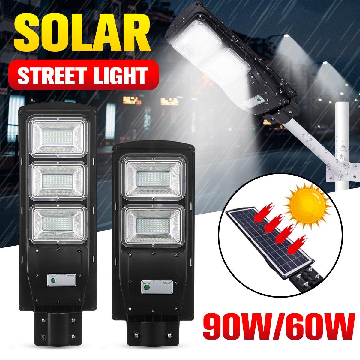 60W 90W LED IP67 Solar Street Light Radar With PIR Motion Sensor Outdoor Lighting Wall Lamps Solar Landscape Garden Lights