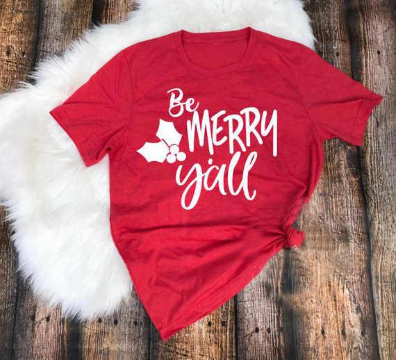 Di modo Rosso Vacanza Regalo Regalo Camicia di Camicia di Cotone casual Tee Magliette e camicette Essere Buon Y'all Di Natale Magliette per Le Donne Foglia di Grafici