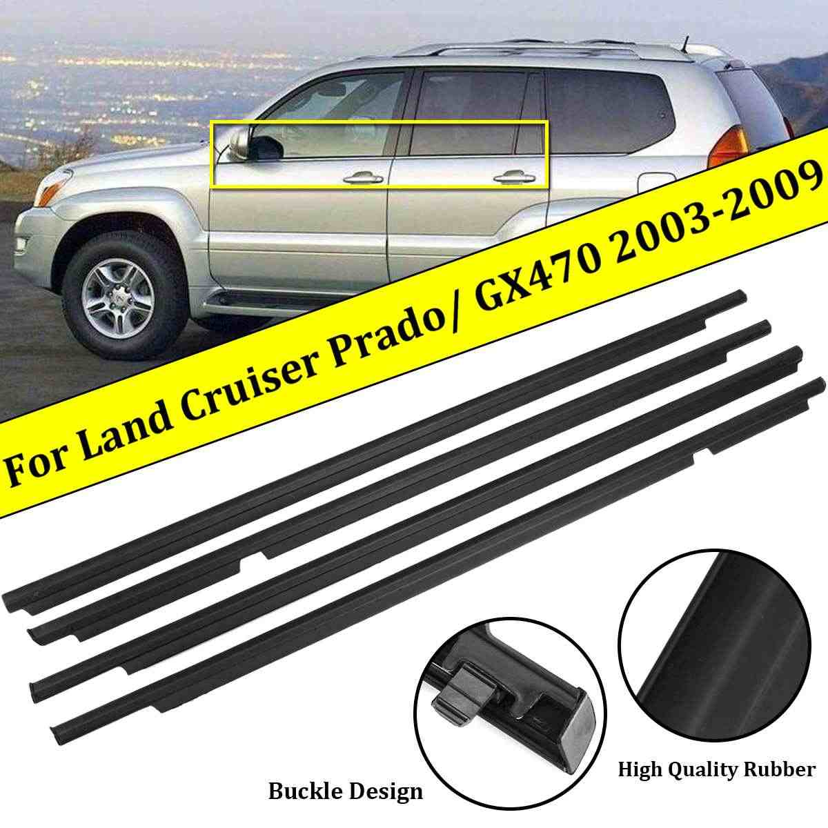 4 pcs weatherstrips 도어 벨트 인감 날씨 스트립 for toyota land cruiser 120 prado 2003-2009 lexus gx470 2003-2009