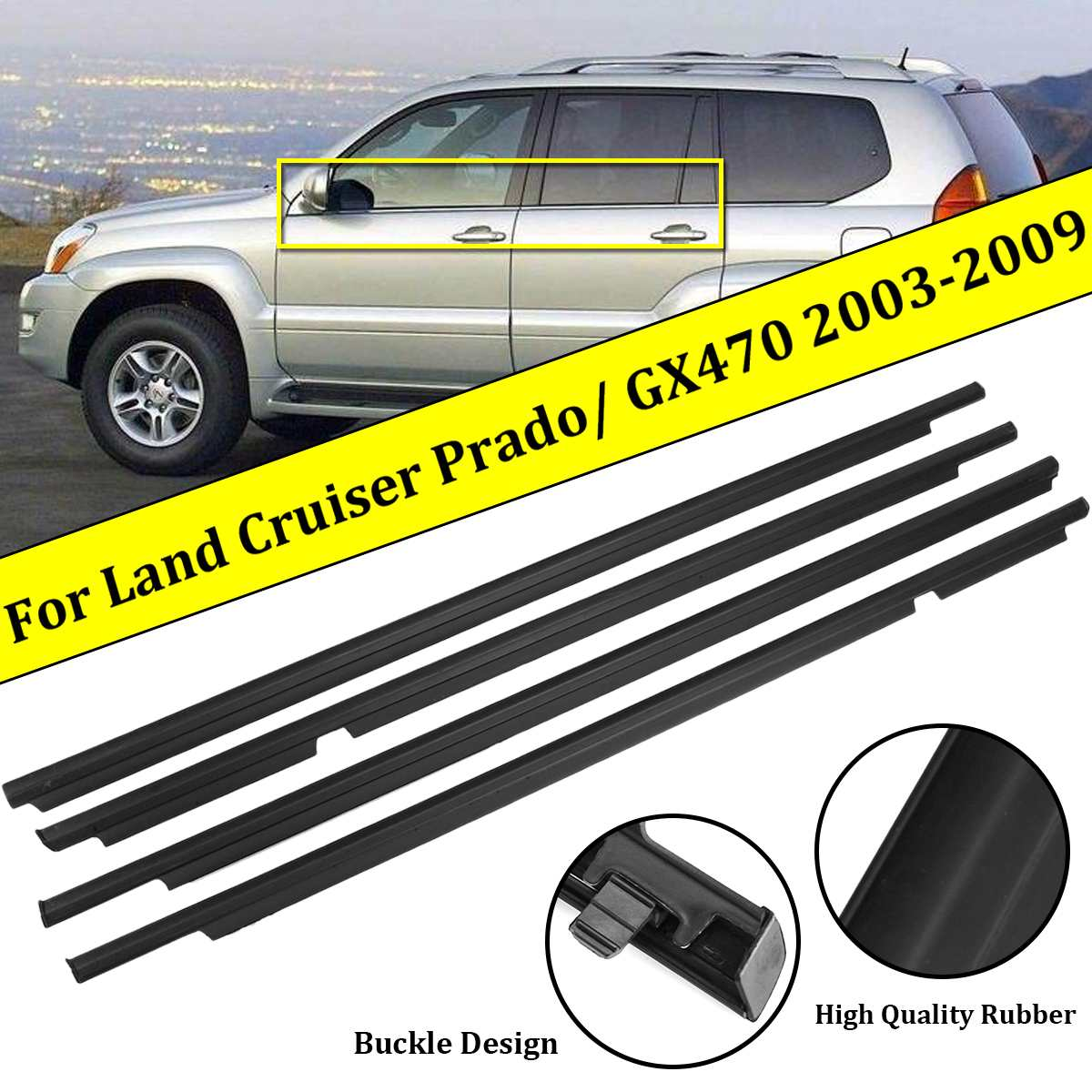 4Pcs Weatherstrips Door Belts Seal Weather Strips for <font><b>Toyota</b></font> Land Cruiser 120 Prado 2003-2009 For Lexus GX470 2003-2009 image