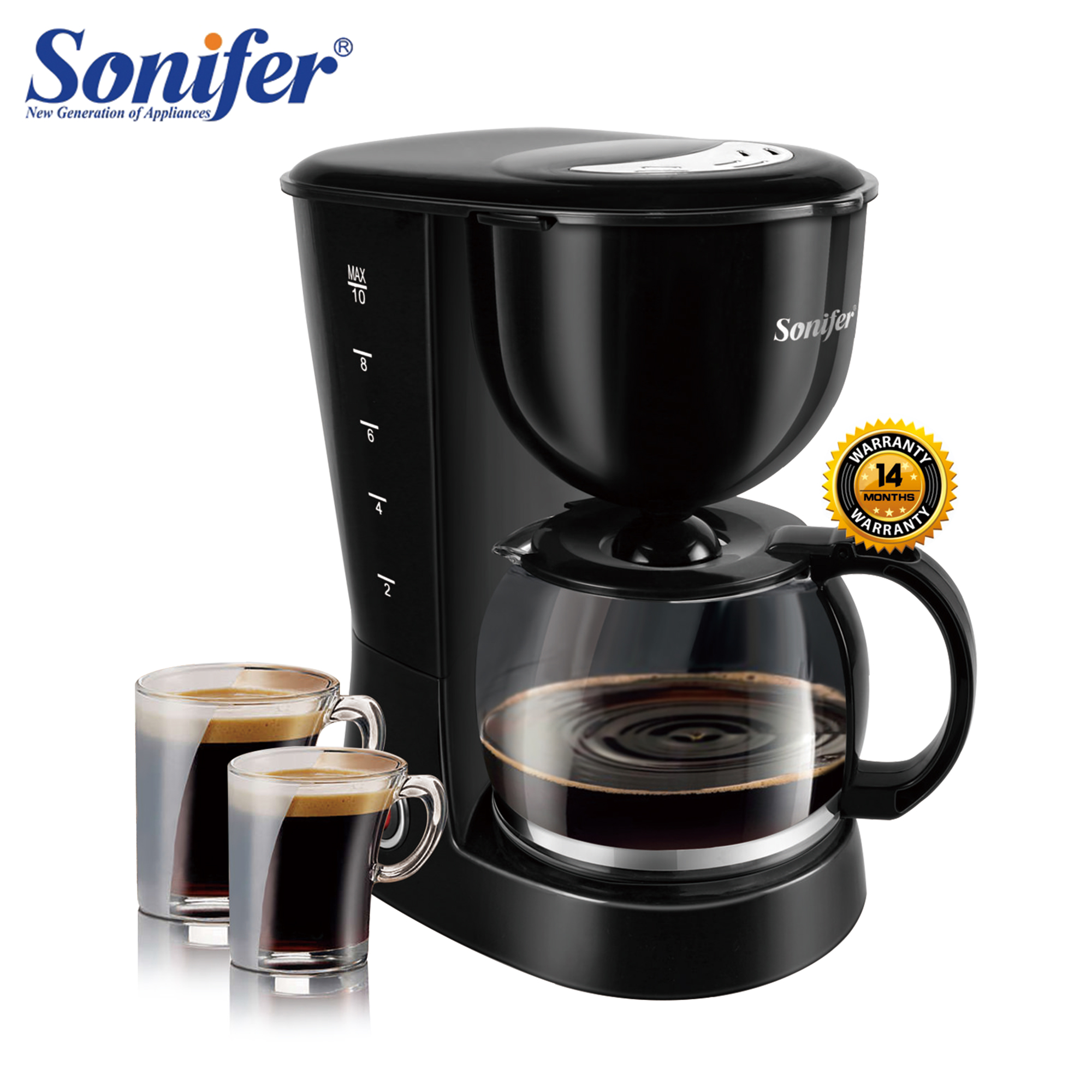1.25L Electric Drip Coffee Maker 800W Household Coffee Machine 12 Cup Tea Coffee Pot Milk Coffee Maker For Gift 220V Sonifer