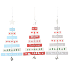 цены Xmas New Year Christmas Wooden tree pendant Creative five-pointed star bell pendant strip tree ornaments christmas decorations