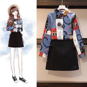 Новинка весны 2020, Женский комплект из двух предметов, рубашка и юбка, топ с принтом, блузка и юбка, комплект одежды, костюм