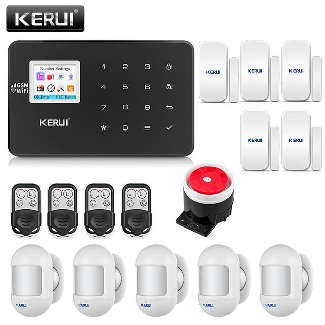 KERUI W18 أسود اللون العقلية التحكم عن بعد لاسلكية Wifi GSM إنذار المنزل APP LCD GSM SMS جهاز إنذار ضد السرقة نظام