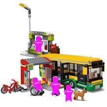 CITY Town Bus Station Building Blocks Sets Kits Bricks Kids Classic Model Toys For Children Gift Kids Marvel цены онлайн