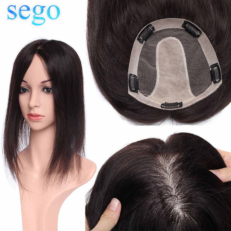 SEGO 15x16cm Human Hair Topper Wig For Women Breathable Silk Base With 5 Clip In Hair Toupee Non-Remy Hairpiece Natural Color