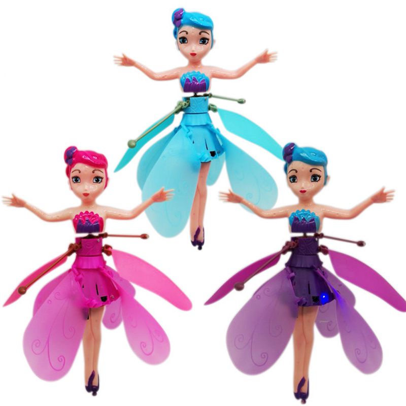 New Rc Helicopter Infrared Light Suspension Flying Doll Toys Mini Rc Drone Girl Induction Fairy Magical Princess Dolls Christmas
