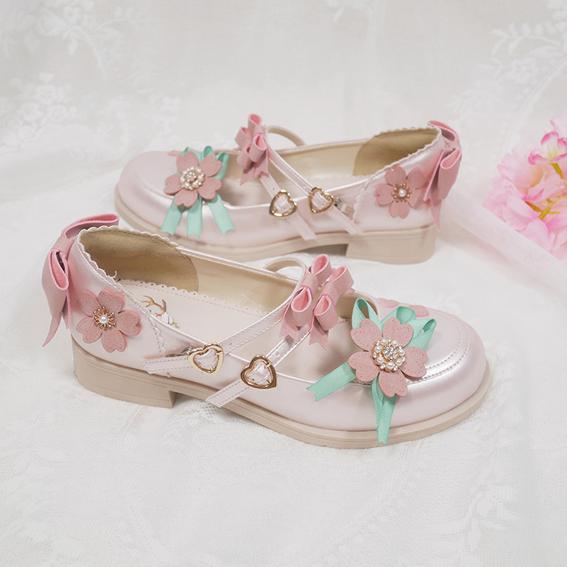 Bow VintageLow help Sweet Lolita Shoes  Anime Lolita Shoes Three-dimensional flower cute princess low heel shoes cos Lolita loli