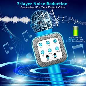Image 4 - 4 w 1 LED Lights Handheld przenośne Karaoke mikrofon domowy odtwarzacz KTV z funkcją nagrywania kompatybilny z urządzeniami z systemem Android i iOS