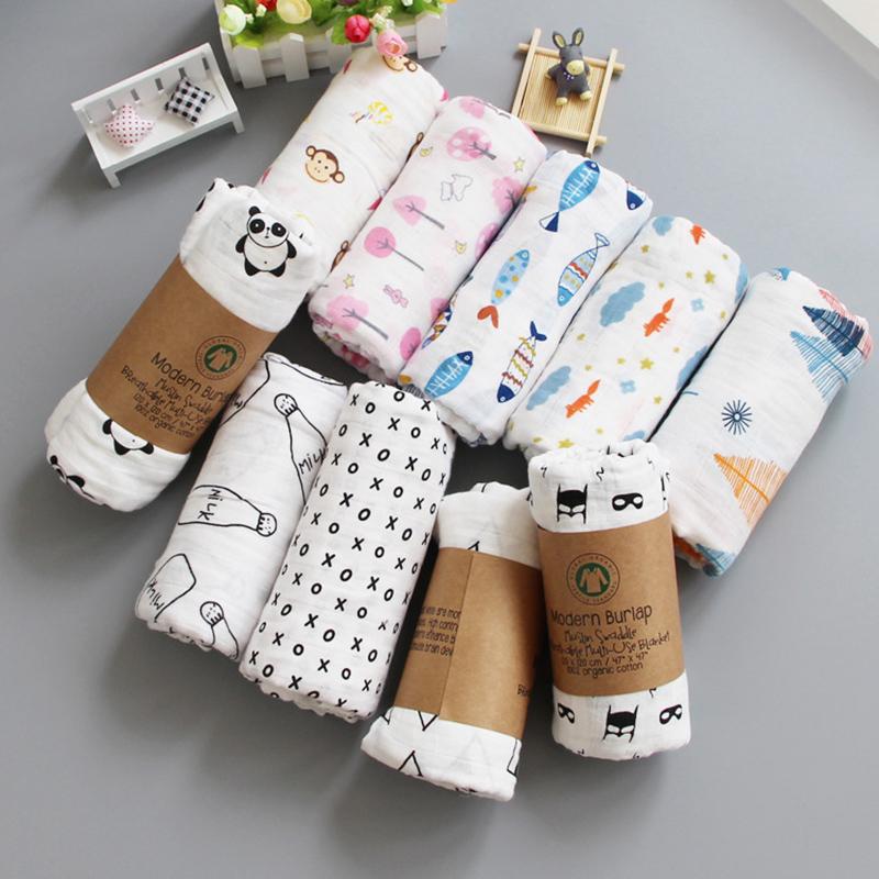 Muslin 100% Cotton Baby Blanket 120*120cm Soft Newborn Blankets 2 Layers Bath Gauze Infant Swaddle Wrap Sleepsack Stroller Cover