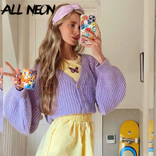 ALLNeon E-girl Sweet Ribbed Single-breasted Oversized Cropped Tops Y2K Fashion V-neck Lantern Sleeve Knitted Cardigan 90s Casual