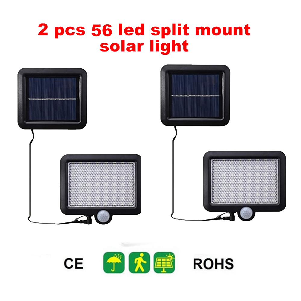2/4pcs 100/56/30 LEDs Solar Lights Outdoor PIR Motion Sensor Activated Separable Light for Garden Security Waterproof Wireless W