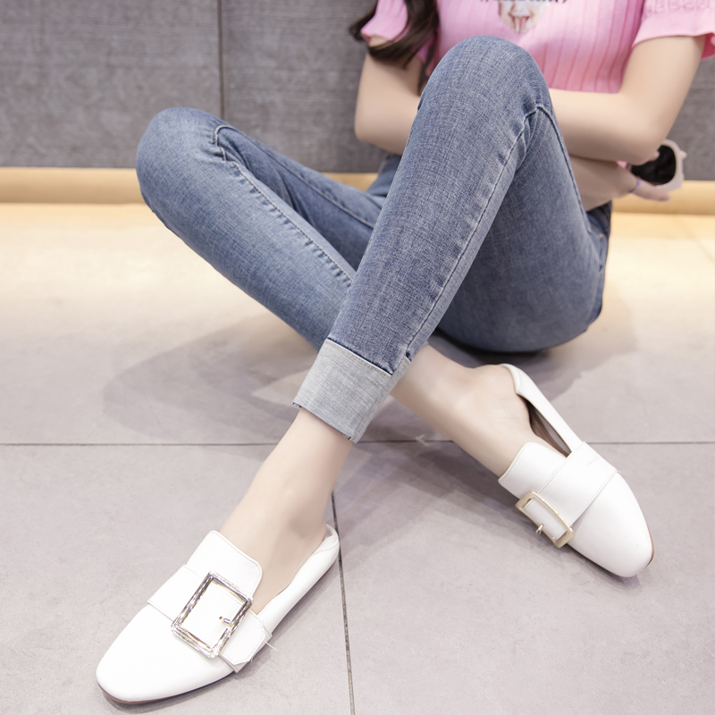2019 Autumn New Tight Pencil Skinny   Jeans   Women Korea Denim   Jeans   Womens High waisted Feet Slim Fashion Fake Cuffed Streetwear