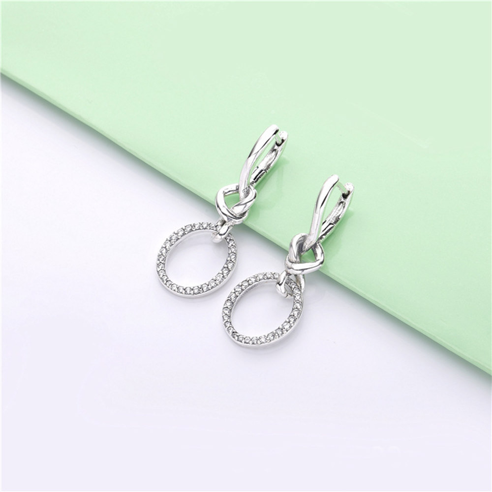 Image 4 - Original PAN 925 Sterling Silver Drop Earrings Love Knotted Heart Woman CZ Earring Charm DIY Jewelry Valentine's Day Gift-in Drop Earrings from Jewelry & Accessories