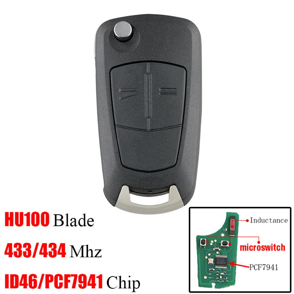 2 Buttons PCF7941 Chip Car Remote Key For Vauxhall Opel Astra H Zafira B 2005 2006 2007 2008 2009 2010 433Mhz Key