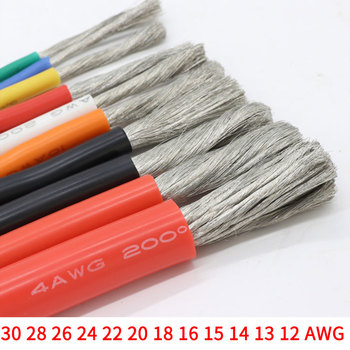 1M/5M 30 28 26 24 22 20 18 16 15 14 13 12 AWG Heat-resistant cable Ultra Soft Silicone Wire Copper Flexible High Temperature image