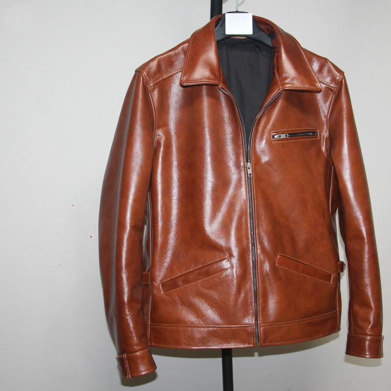 Cowhide Coat Genuine Leather Jacket Men Short 100% Real Cow Leather Jackets Autumn Veste En Cuir Homme 2020 L-C-5 KJ2711