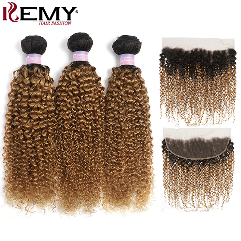 1B/27 Ombre Blonde Kinky Curly Bundles With Frontal 13x4 KEMY Brazilian Human Hair Weave Bundles With Closure Non-Remy Hair Weft