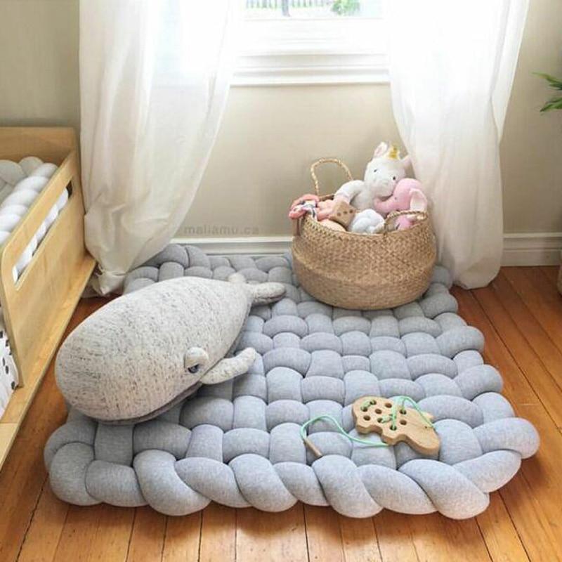 85CM torsadé main tissé enfants ramper tapis bébé jeu Pad jouet pétale Pad tapis de bain tapis rond doux couverture chambre décoration DDZ