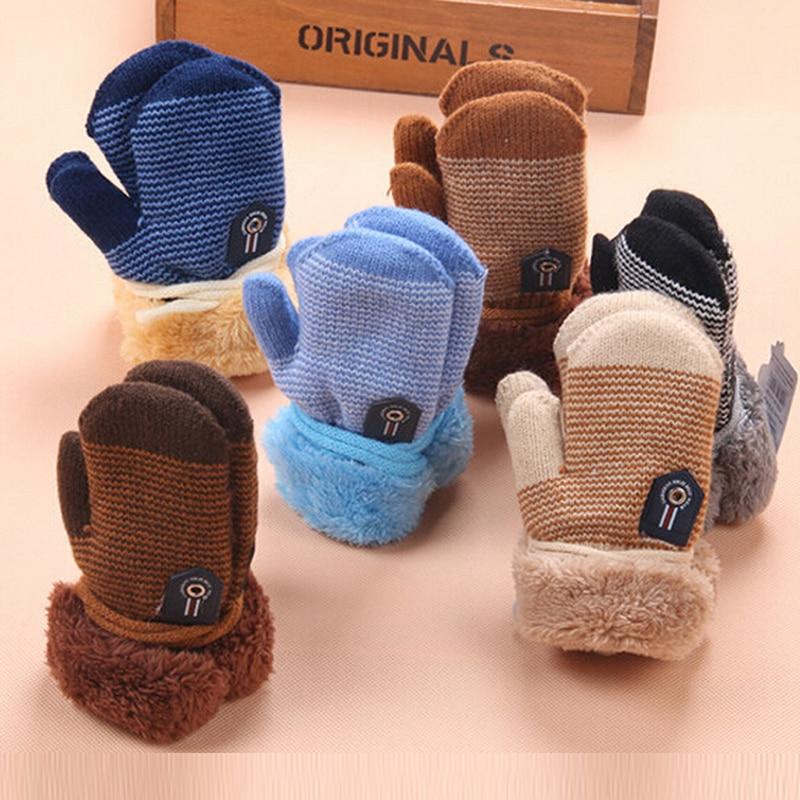 Cartoon Kids Knitted Gloves Plus Velvet Boy Girls Ski Gloves Winter Warm Thicken Children Mittens Toddler Gloves