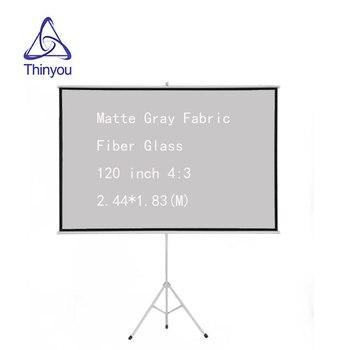 Thinyou Matte Gray Fabric Fiber Glass 120 inch 4:3 Tripod Projector Screen Gain Mobile presentation portable tripod screen