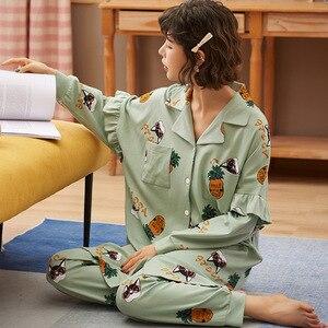 Image 3 - New Autumn Winter Sleepwear 2 Piece Sets For Womens Cotton Pajamas Turn down Collar Homewear Large Size 3XL Pijama Soft Pyjama