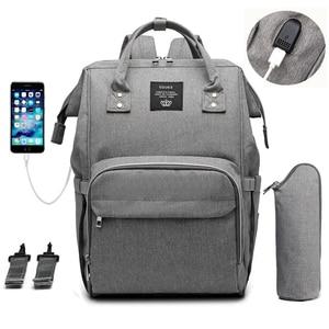 Image 1 - Sac à couches pour bébé, poussette pour maman, USB, grande capacité, à couches étanches pour maman, sac à dos de voyage pour maternité, sacoche à main dallaitement