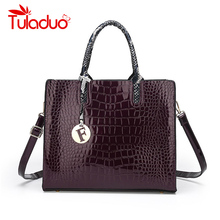 Crocodile Patent Leather Tote Bag Women Handbags Luxury Women Bags Designer Crossbody Shoulder Bags Famous Brand Trunk Bag 2017 soft leather lattice stitching 3 layers of space women tote bags handbags women famous brand casual crossbody bag