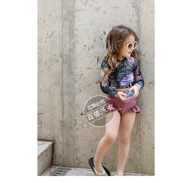 South Korea KID'S Swimwear Long Sleeve Sun-resistant Split Type High-Waist Pants Belly Covering Medium-small Girls Swimwear Cute