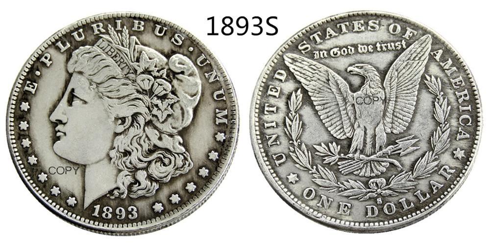 US 1893-S Morgan Dollar Silver Plated Copy Coin