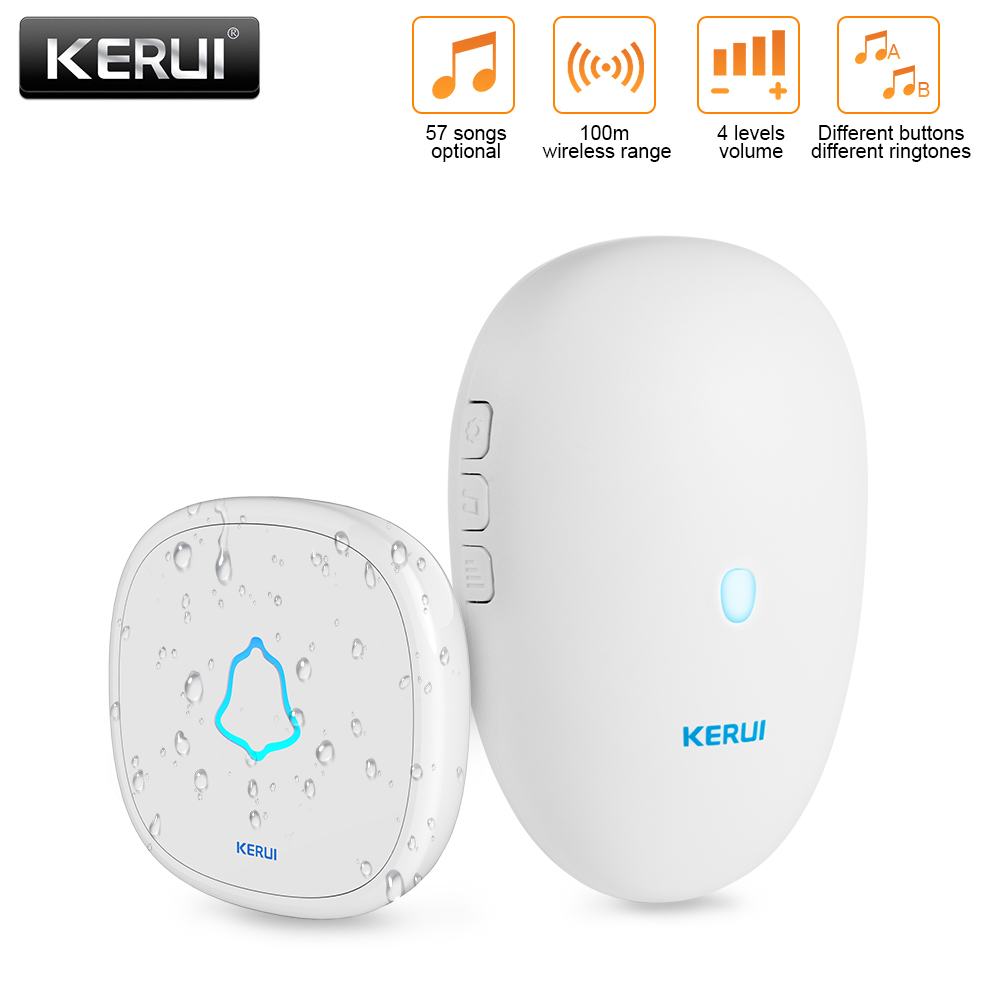 KERUI M521 Waterproof Wireless DoorBell Smart Home Welcome Door Bell 4 Volume Levels With 23A 12V Battery