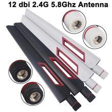 2個12 dbi無線lanアンテナ2.4グラム5グラム5.8Gh rp smaオスユニバーサルアンテナアンプwlanルータantenneブースター