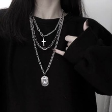 Personality Punk 3 Layered Cross Coin Pendant Necklace for Women Man Unisex Alloy Linked Chain Sweater Choker Necklaces Jewelry