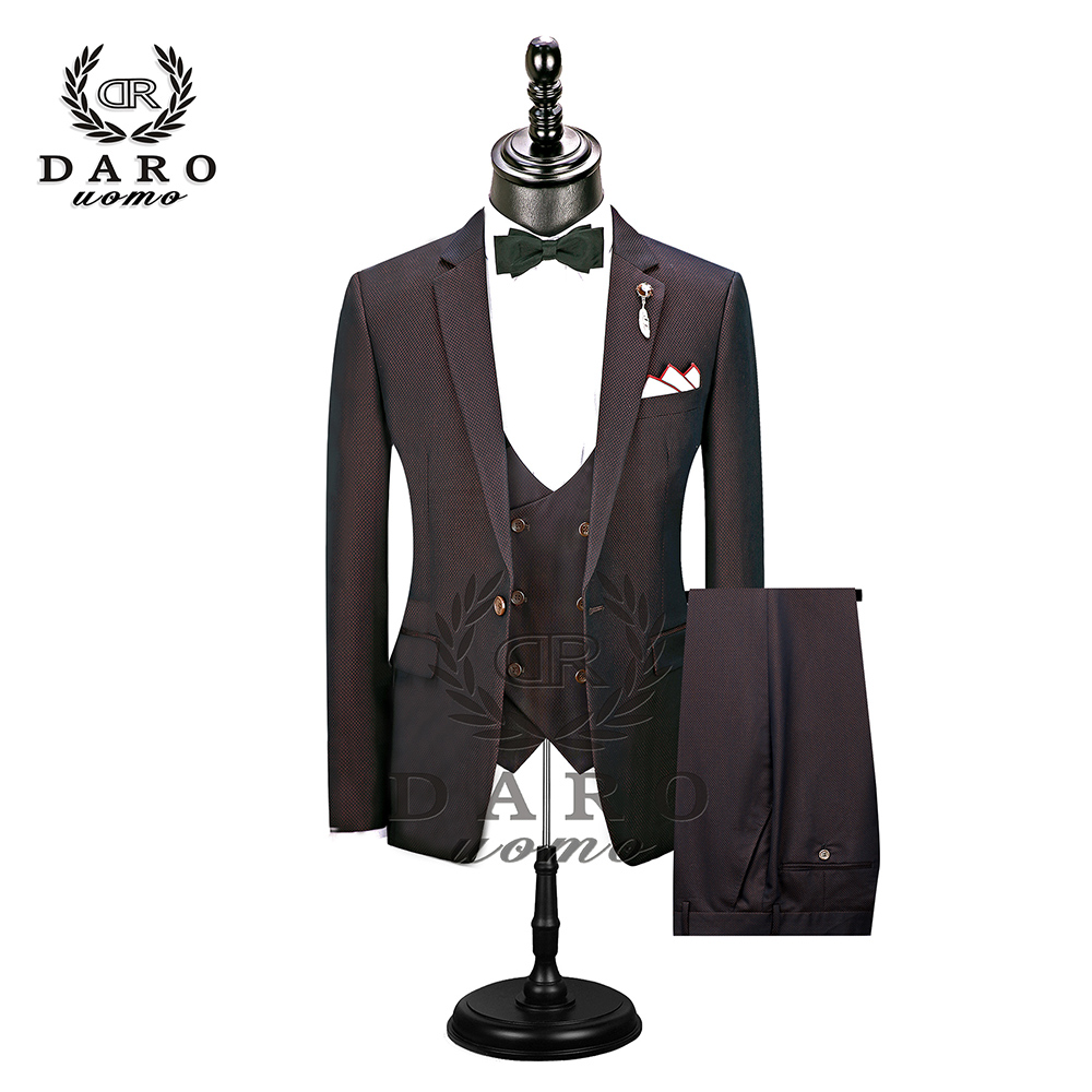 2019 New Men's Fashion Boutique Plaid Wedding Dress Suit Three-piece Male Formal Business Casual Suits DR8608