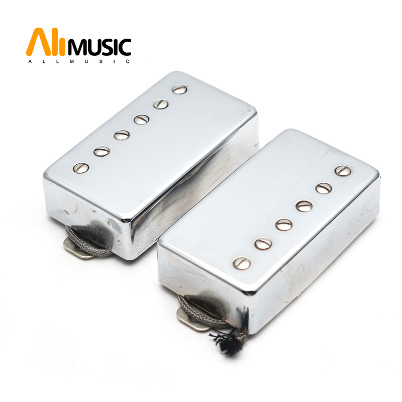 Alnico 5 LP Humbucker Guitar Pickup Set Chrome Neck & Bridge Alnico V Pickup Chrome