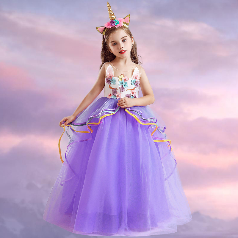 Fancy Flower Girl Long Gown for Princess Party Dress Children Formal Clothes Kids Dresses for Girls Wedding Evening Clothing 2