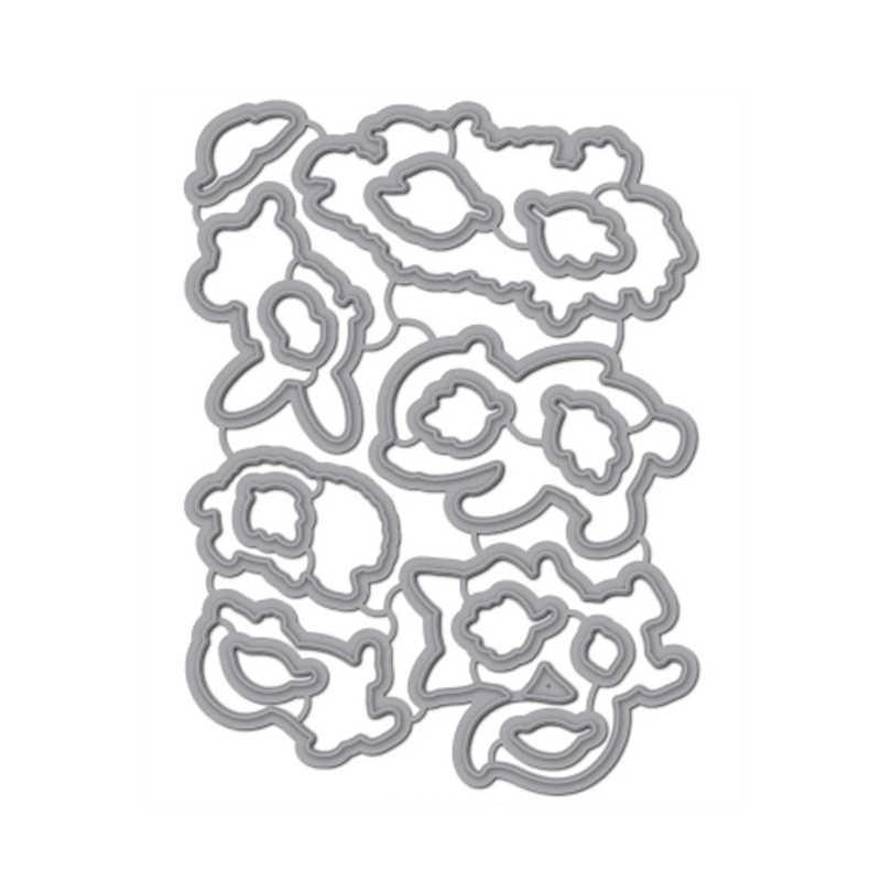 2020新金属切削ダイスリスバニー動物スタンプと葉ダイカットセットステンシルスクラップブッキング紙クラフトカード作る