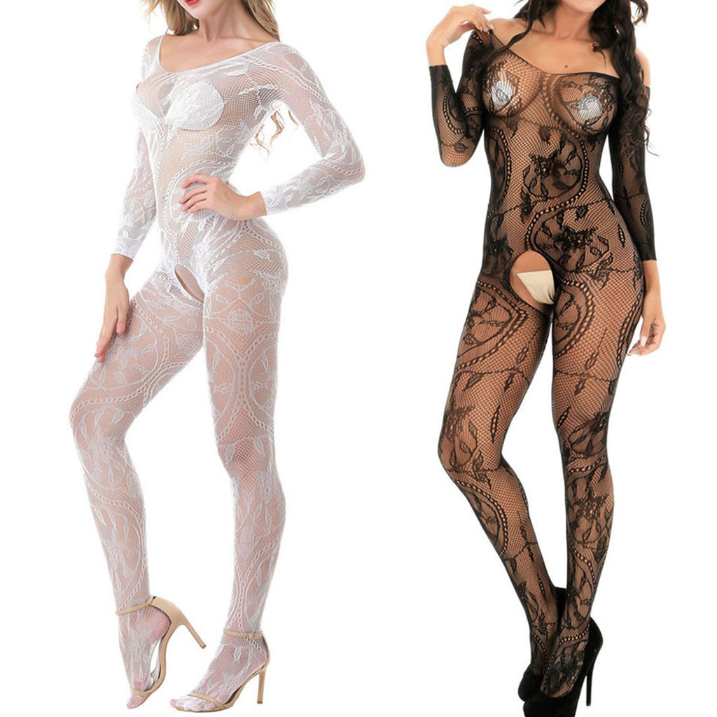 Women Sexy/Sissy Lingerie Babydoll Underwear Body Stocking Sexy Mesh Fun Siamese Stockings One Size