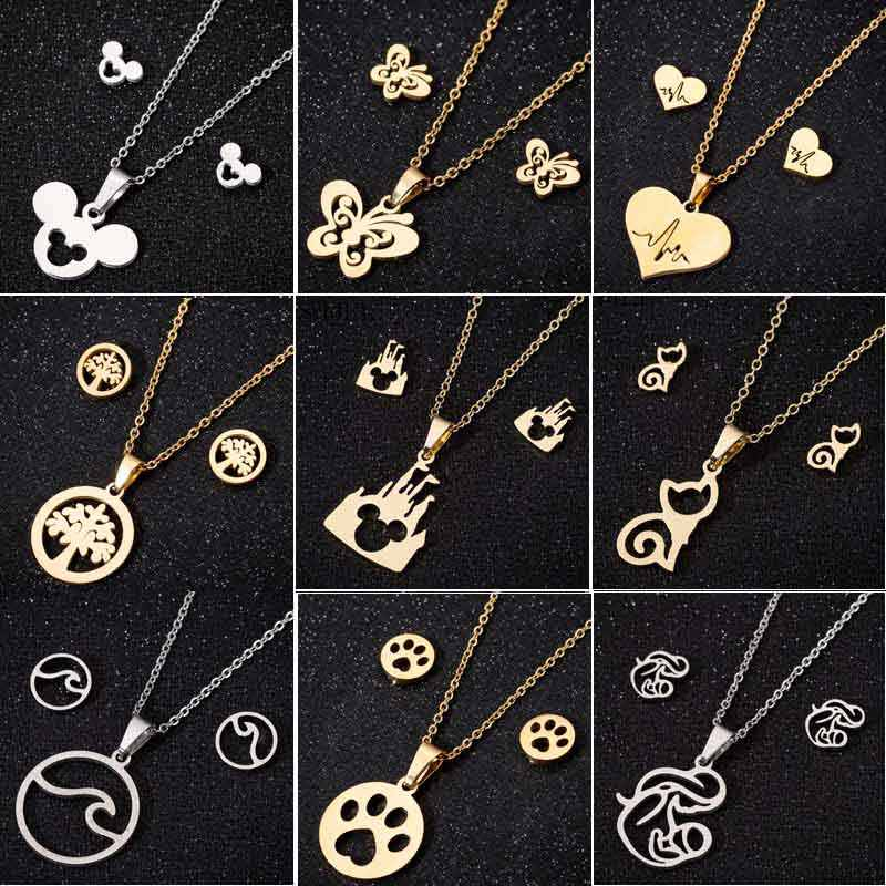 SMJEL Stainless Steel Cute Deer Earrings Small Gold Jewelry Set for Women Christmas Elk Snowflake Necklaces Pendants Collier
