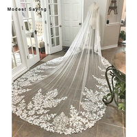 Delicate Ivory 5 Meters Cathedral Lace Wedding Veils 2019 Church Royal Bridal Veils Wedding Accessories Monarch veu de noiva