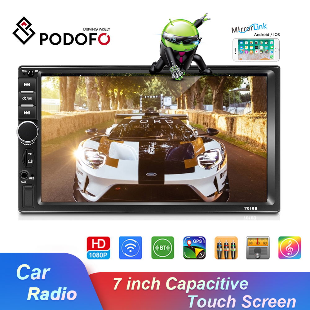 <font><b>Podofo</b></font> 2 Din 7'' Android 8.1 Car Stereo Radio Multimedia Video Player GPS FM Car Radio Player For VW Nissan Hyundai toyota KIA image